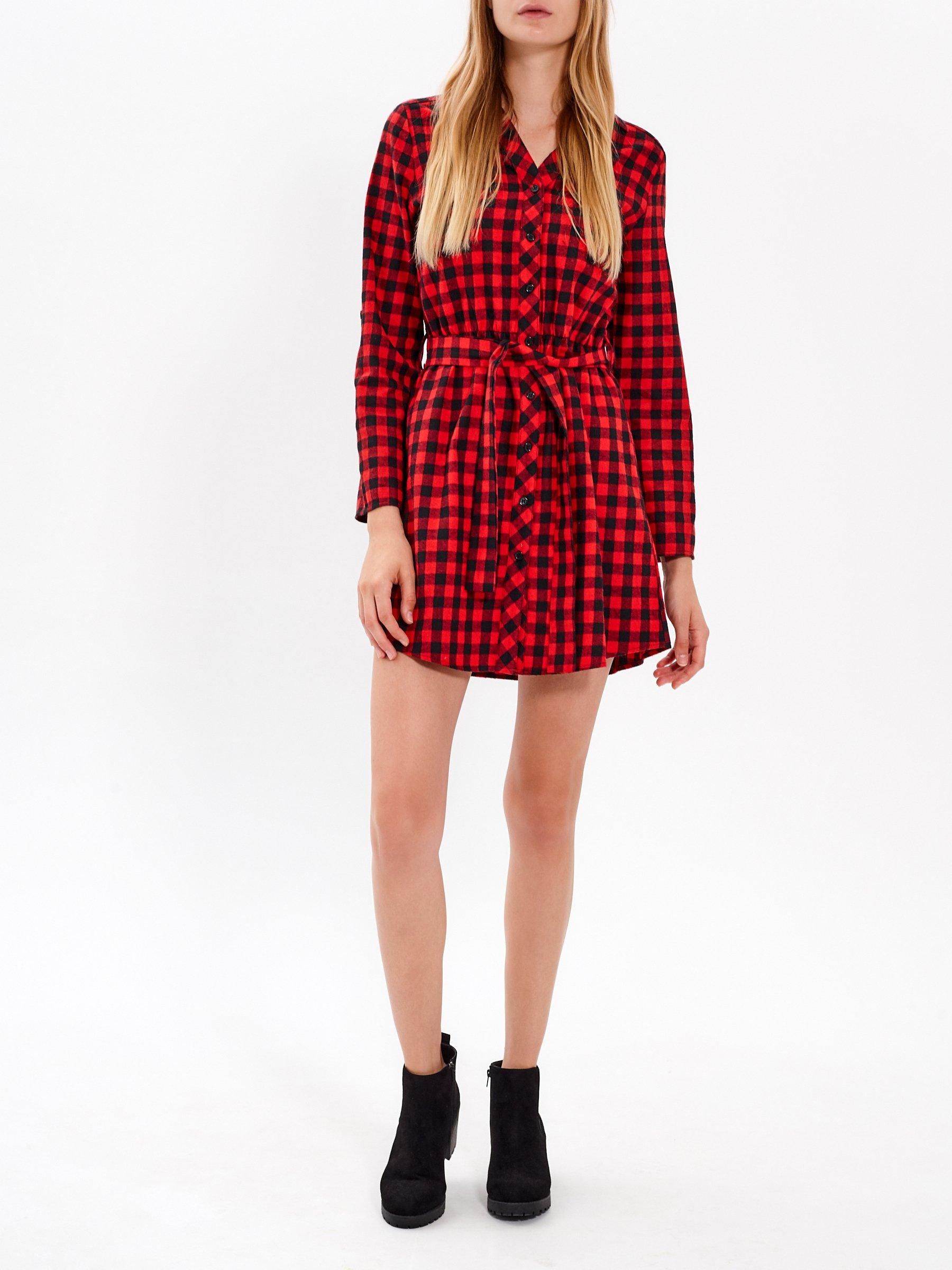 b20e155c9aac Kockované košeľové šaty