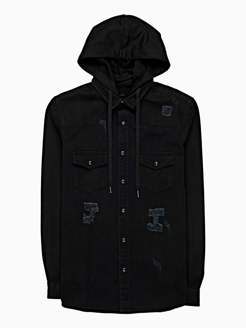 DAMAGED DENIM SHIRT WITH HOOD