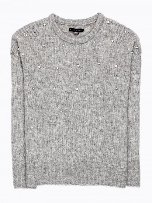 OVERSIZED WOOL BLENDED JUMPER WITH PEARLS
