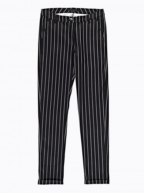 Striped slim trousers