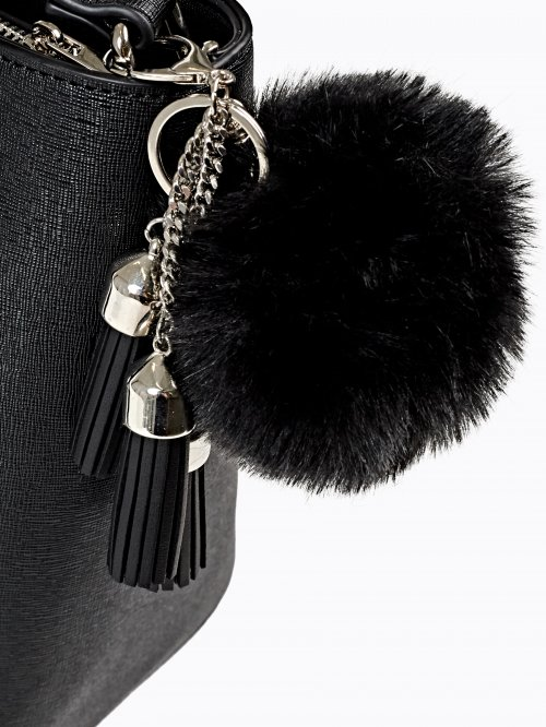 POM AND TASSELS KEY RING