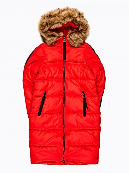 LONGLINE QUILTED PADDED JACKET WITH SLEEVE TAPE