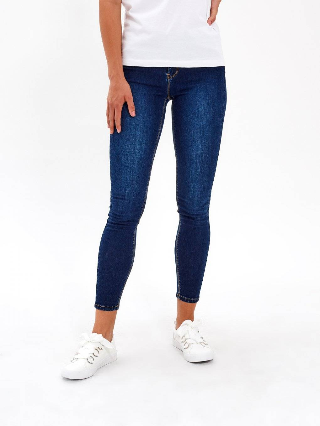 BASIC SKINNY JEANS IN DARK BLUE WASH
