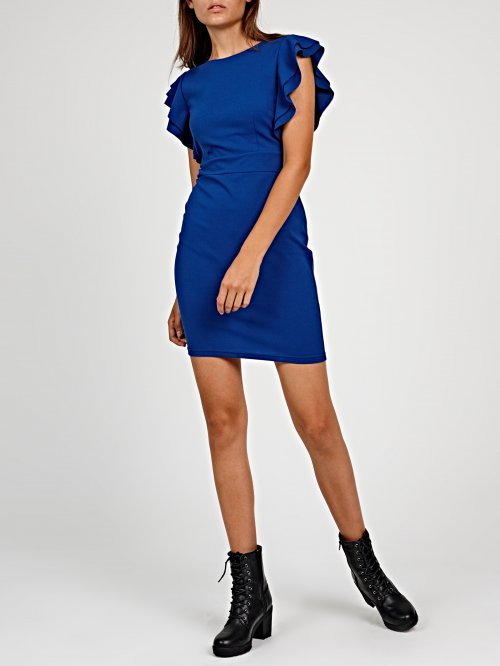 Bodycon mini dress with ruffle