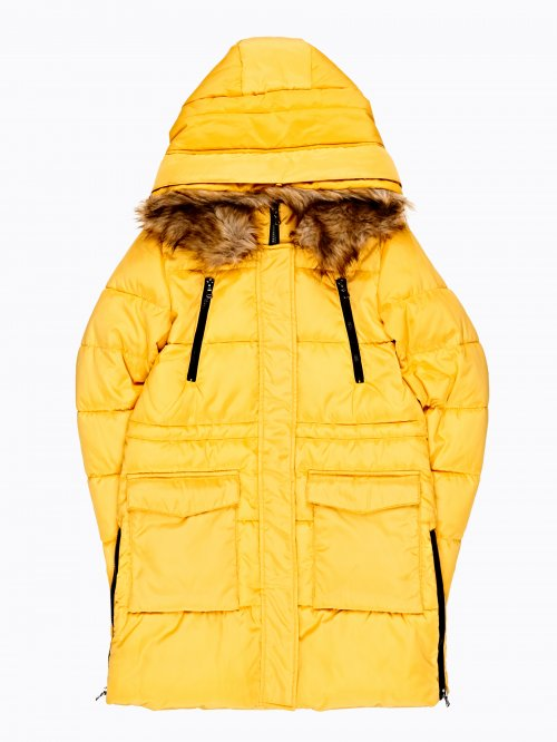 Longline padded jacket with zippers