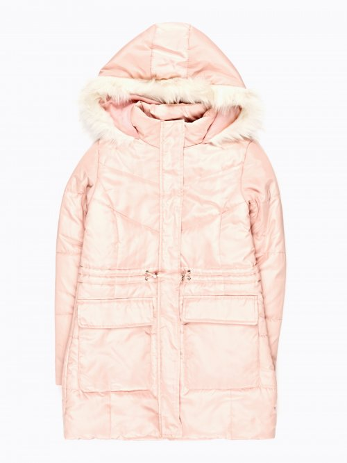 LONGLINE PADDED JACKET WITH FAUX FUR