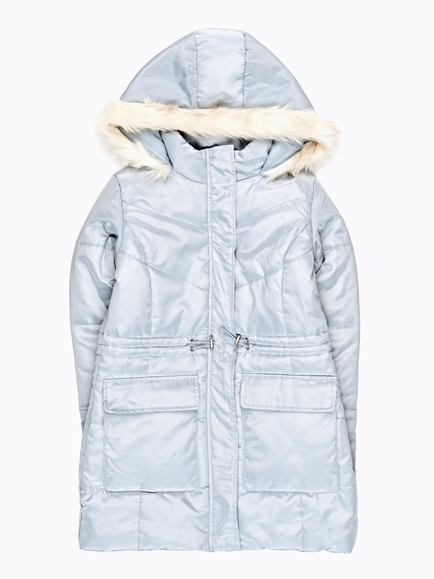GATE Dlouhá vatovaná bunda s umělou kožešinou