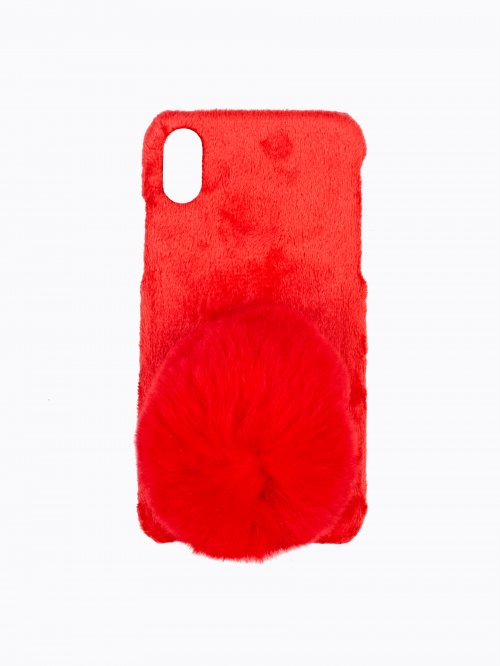 CHRISTMAS PHONE CASE WITH POM /I-PHONE 6,7,X/