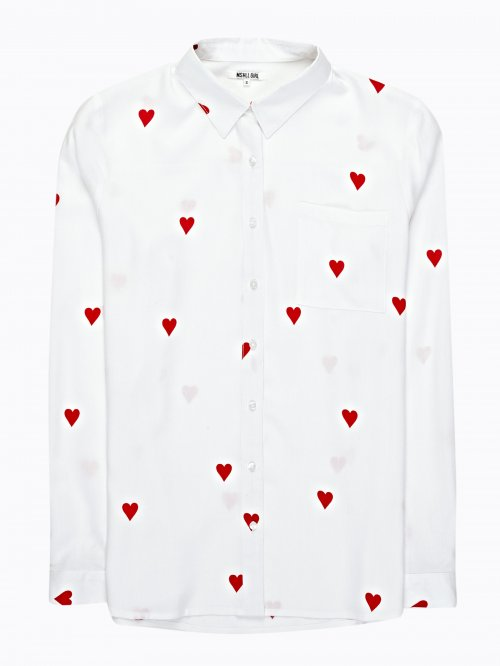HEARTS PRINT VISCOSE SHIRT