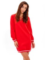 Lace-up sweatshirt dress with side pockets