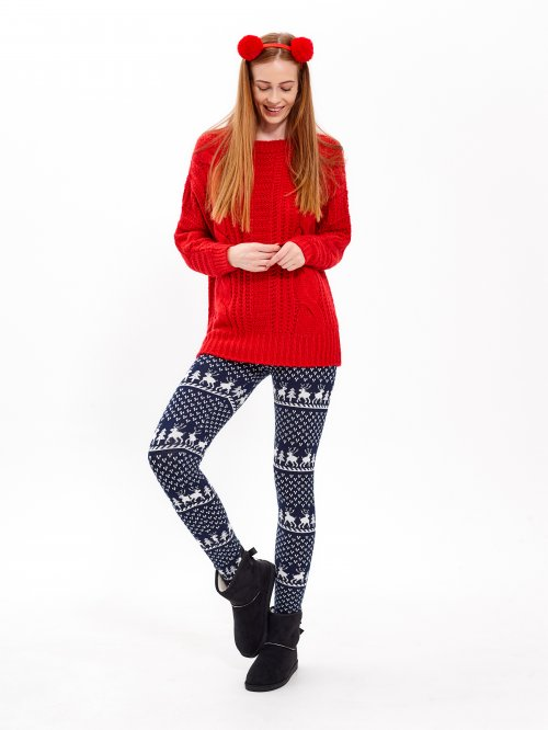PATTERNED KNITTED LEGGINGS