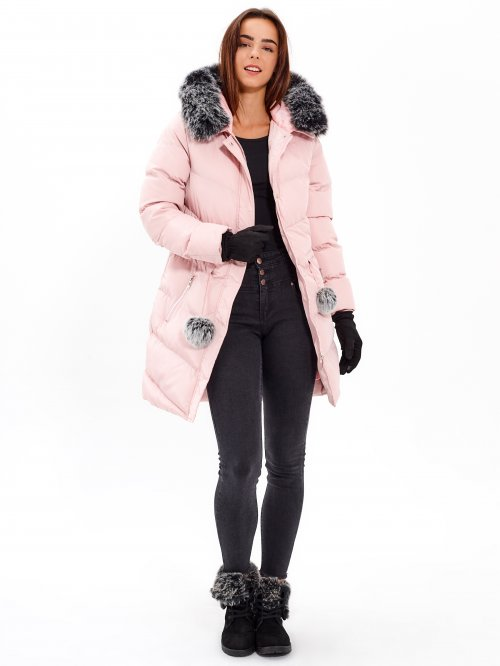 QUILTED PADDED JACKET WITH POM-POM DETAIL