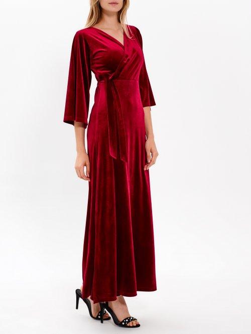 1f7352f30d76 Dlhé zamatové zavinovacie šaty