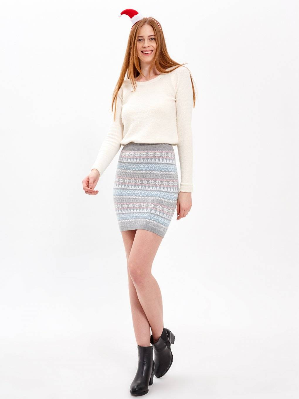 PATTERNED KNITTED MINI SKIRT