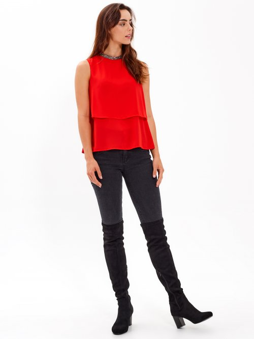 LAYERED CHIFFON TOP WITH BEADED COLLAR