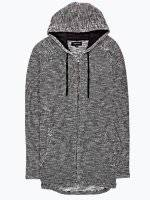 Zip-up marled cardigan with hood