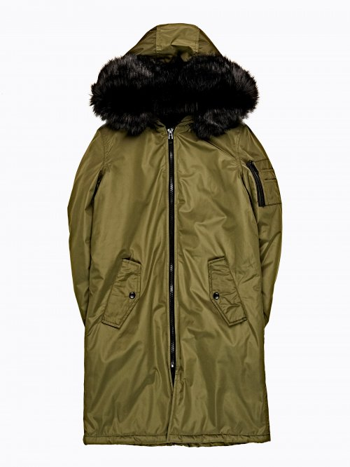 LONGLINE PADDED PARKA WITH FRILL DETAILS