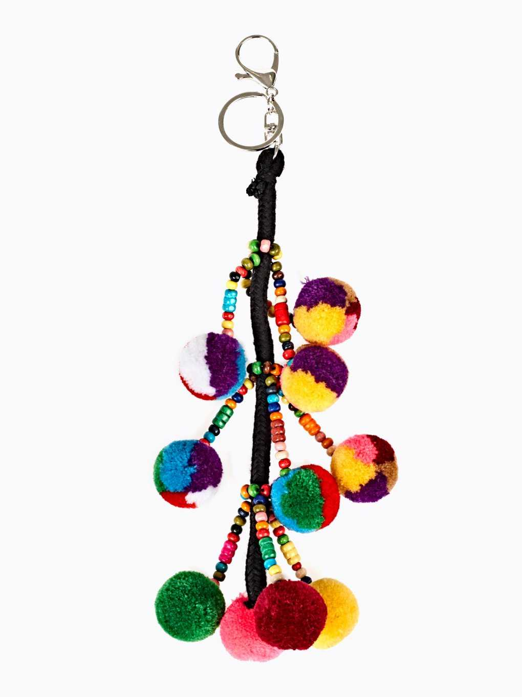 MULTICOLOUR POMPOMS KEY RING