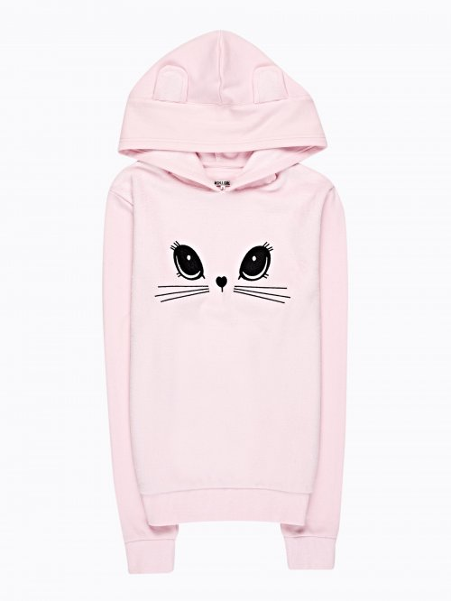 FLUFFY HOODIE WITH EMBROIDERED FACE