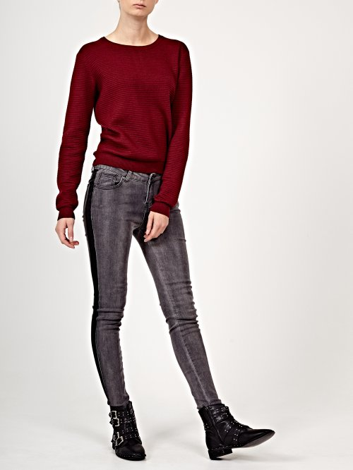 Skinny jeans in dark grey wash with side stripe