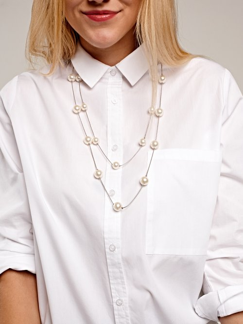 LONGLINE LAYERED NECKLACE WITH PEARLS