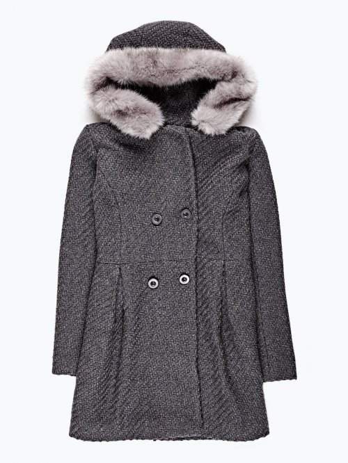 Double breasted coat with hood