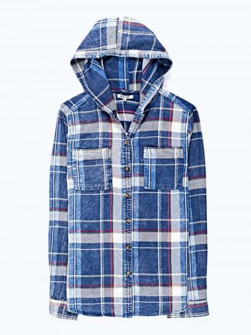 Checked shirt with hood