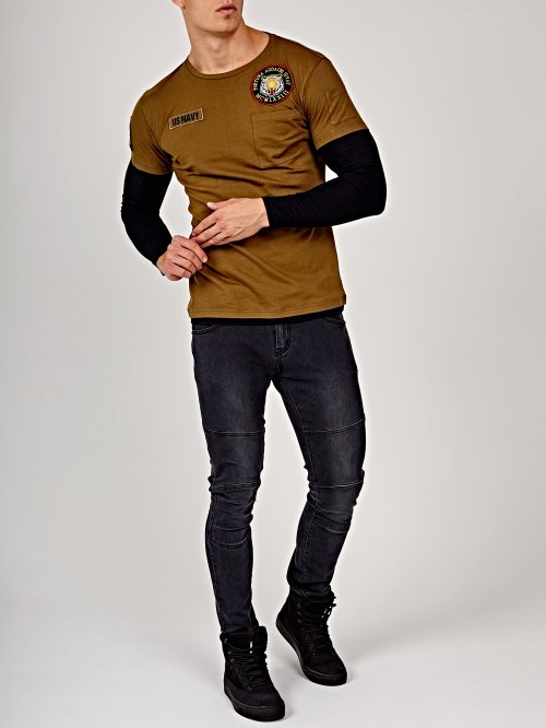 Layered sleeve t-shirt with patches