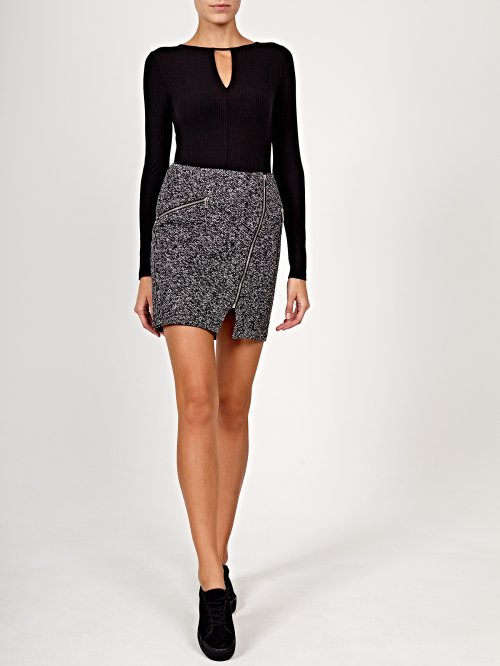 Marled skirt with zippers