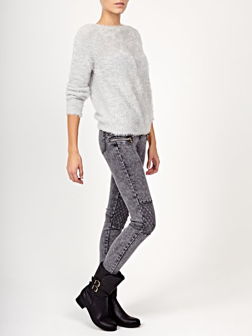 Biker jeans in grey wash