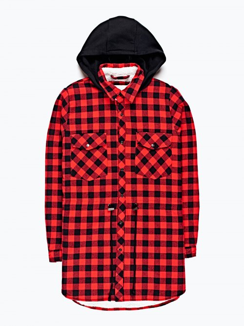 Pile lined checked shacket with hood