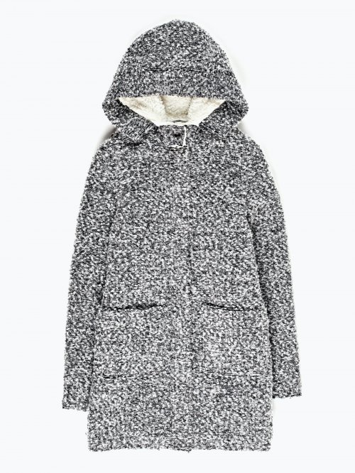Fuzzy lined hooded coat