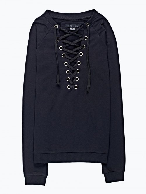 Sweatshirt with front lacing