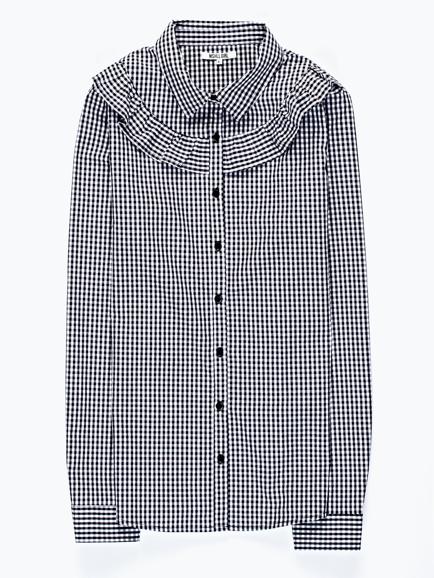 GATE Kostkovaná košile s řaseným detailem