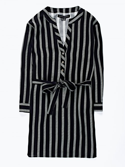 Prolonged striped viscose blouse with belt