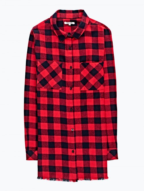 Checked shirt with raw hem
