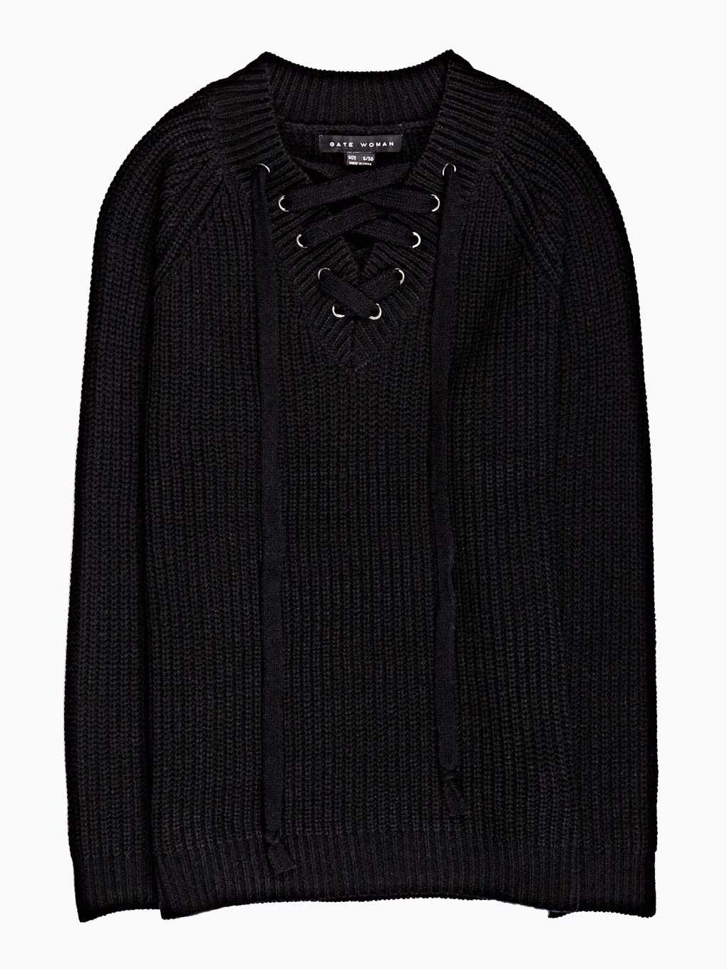 Rib-knit sweater with front lacing