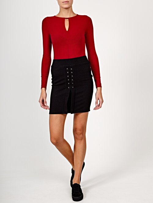 Rib-knit skirt with front lacing