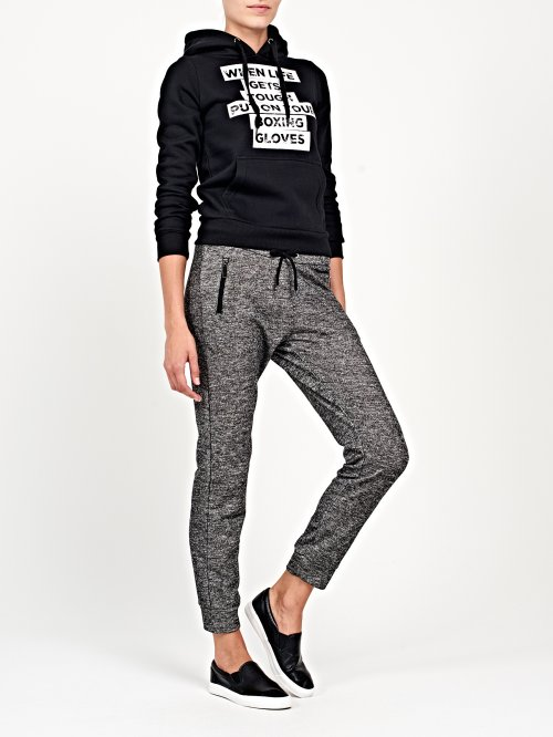 Grey marl swetapants with zippers