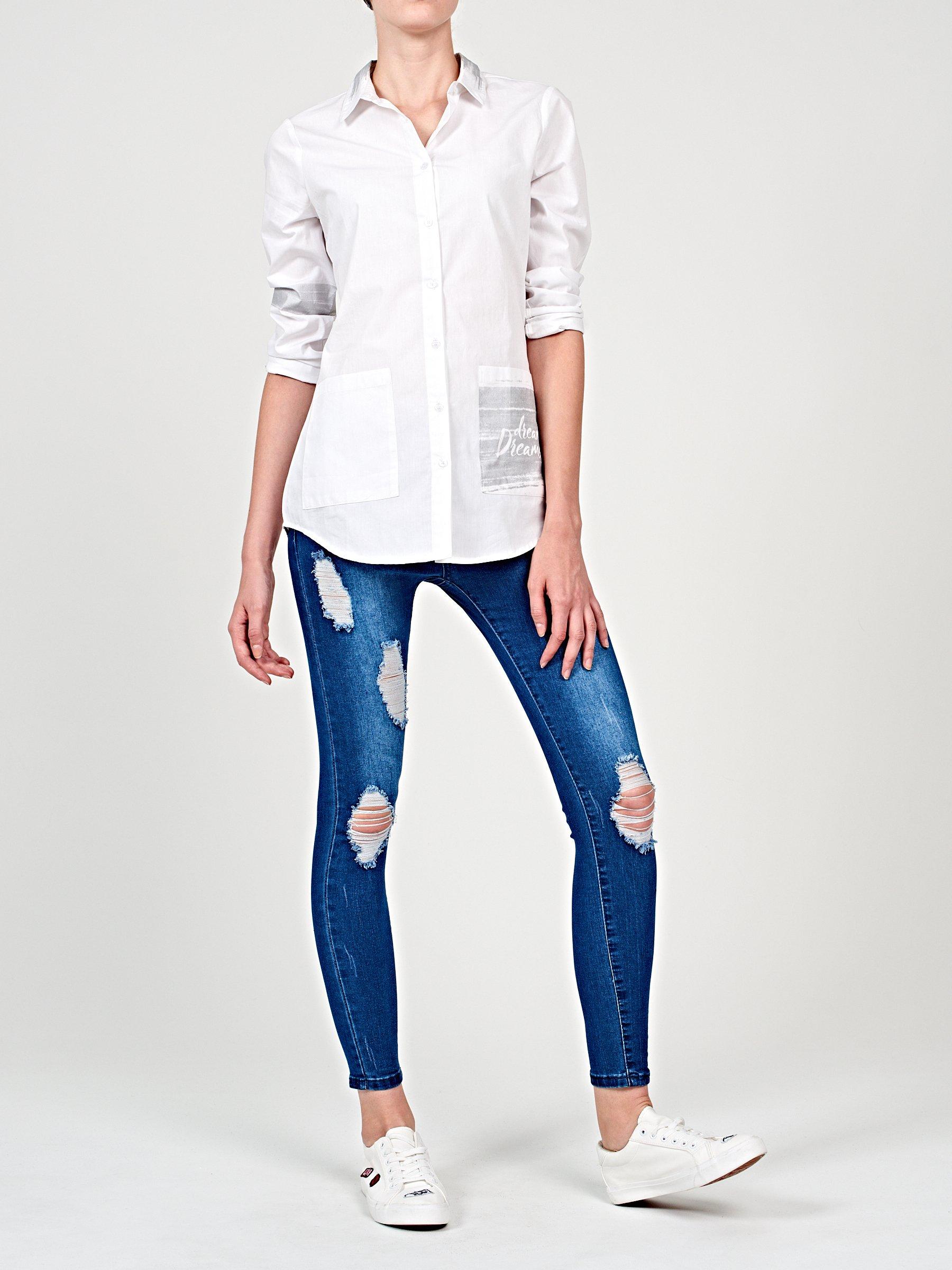 Prolonged Cotton Shirt With Metallic Print Gate