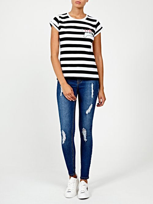 Striped t-shirt with chest print