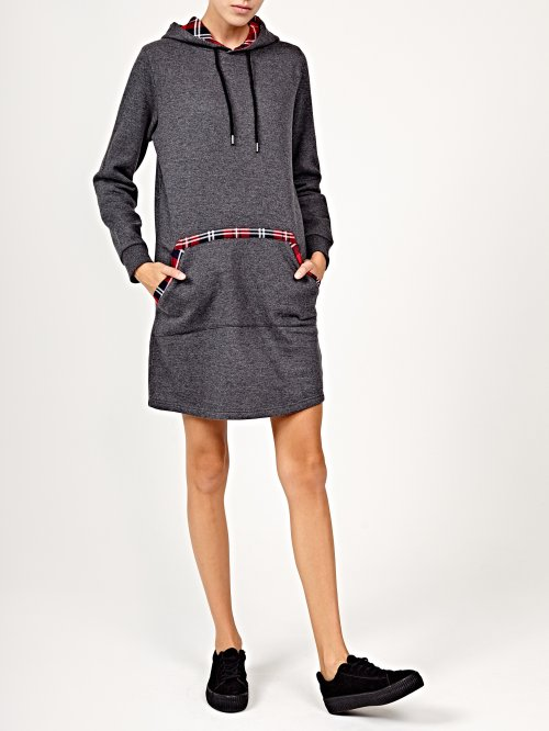 Sweatshirt dress with hood and check details