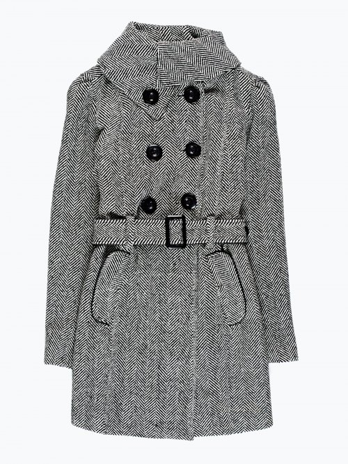 Double-breasted coat in wool blend