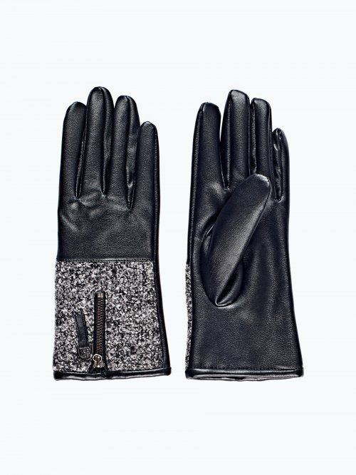Combined gloves with zipper