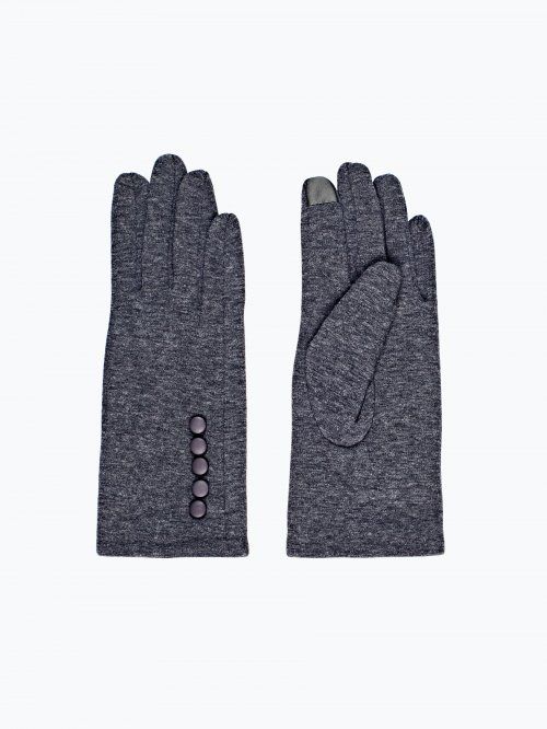 Touch sreen gloves with buttons