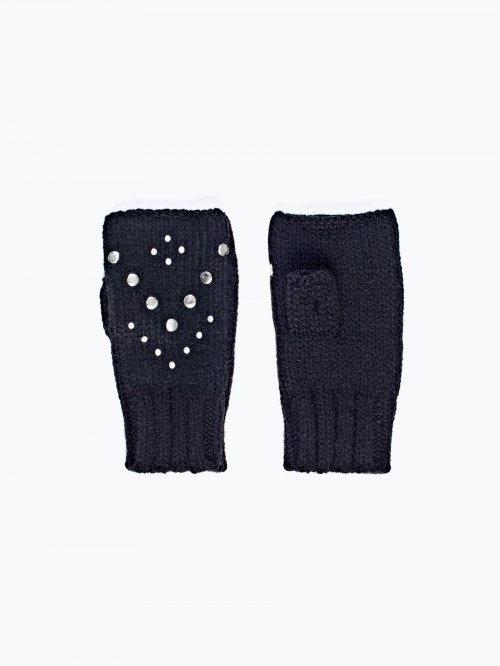 Fingerless studded gloves