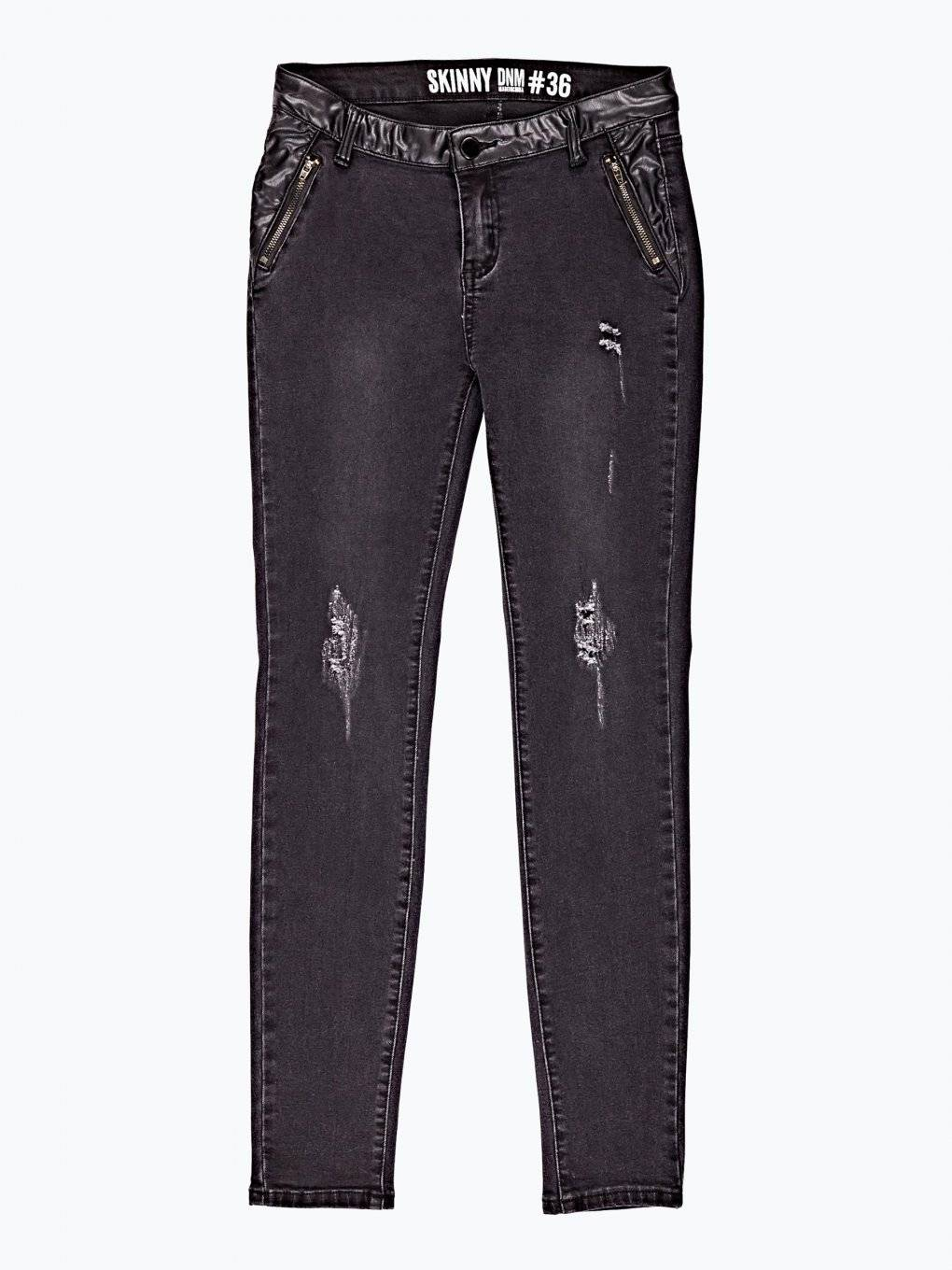 Combined distressed skinny jeans in black wash