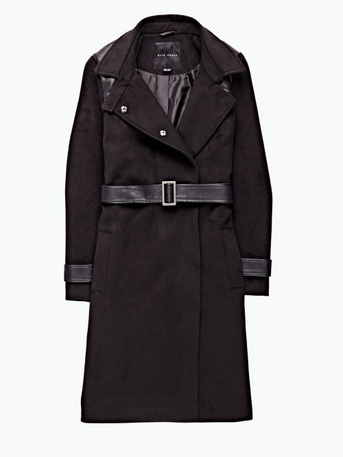 Longline combined coat with belt