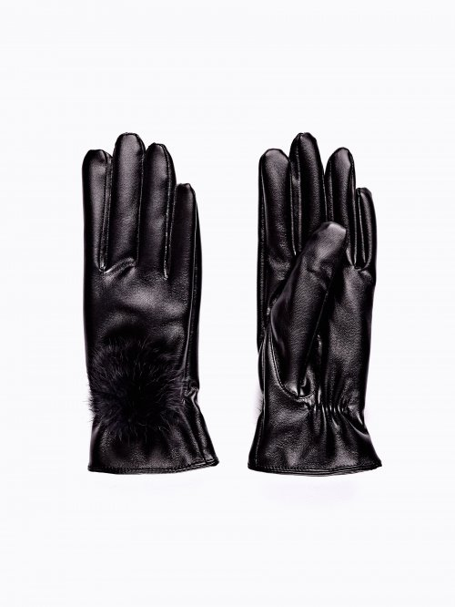 Faux leather gloves with pom-pom