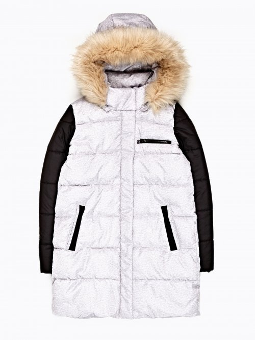 Prolonged combined padded jacket with removable hood